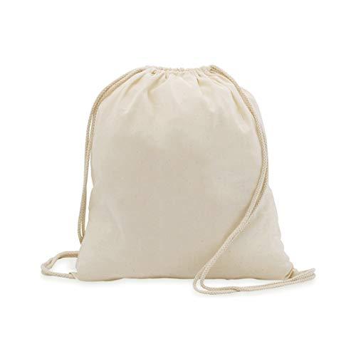MIRVEN - 10 x Bolsa Mochila Algodón Natural Con Cordones Tamaño 37 x 41 Centimetros. Algodón Biodegradable,Lavable. Para Ropa,Manualidades,Eventos,ir de Paseo y Uso Diario.