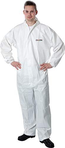 HandschuhMan. OX-ON Coverall Schutzanzug gegen Chemie, Viren, Nuklearpartikel - antistatischer Schutz-Overall PSA Kategorie 3, Typ 5 und 6 weiß (4XL)