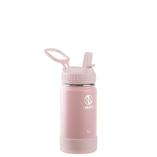 Takeya Kids Insulated Water Bottle w/Straw Lid, 14 oz, Blush