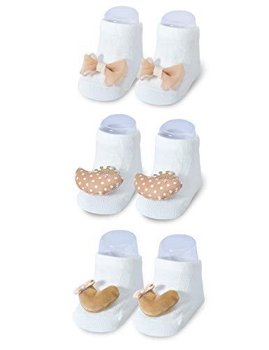 Baby Girl Boys Non Slip 3D 3 Pack Socks for Gift Set,Baby Shower and Newborn Present 0-12 Months White