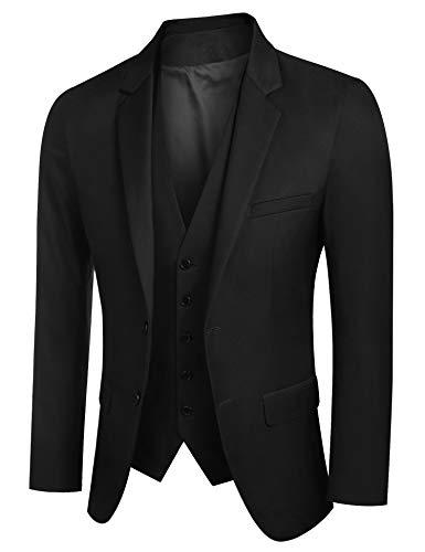 Coshow Anzugjacke Herren Slim fit einfarbig Sakko und Weste für Hochzeit Party Abschluss Business - Schwarz - Large