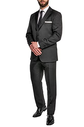Hirschthal Herren Anzug Regular Fit - 2 Teilig Sakko und Anzughose - Schwarz 60