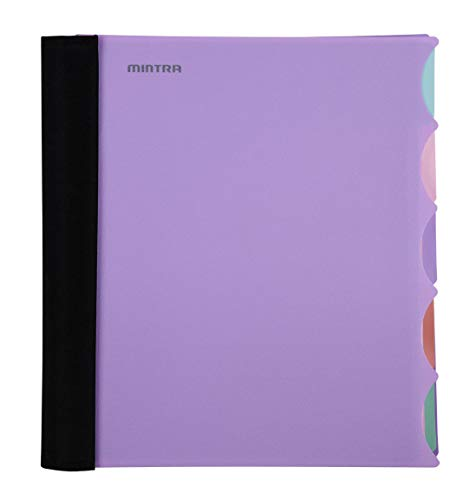 Mintra Office Durable PREMIUM Spiral Notebook - Fabric Covered Coils, No Snags, College Ruled, Adjustable PocketDividers, Ruler, Organization, Student, School (Lavender, 5 Subject (8.5in x 11in))