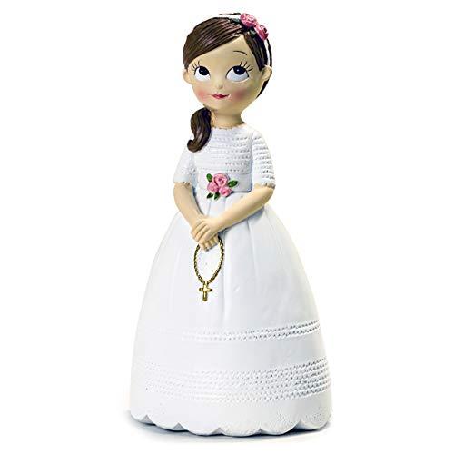 Mopec Figura niña Comunión con Rosario, Resina, 16.5 cm