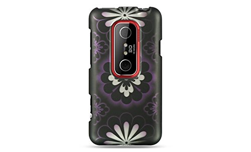 Luxmo CRHTCEVO3DBKPPHF Unique Durable Rubberized Crystal Case for HTC Evo 3D - Retail Packaging - Black/Purple Hawaii Flower