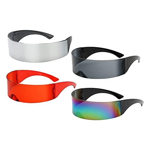 SDENSHI Gafas de Sol Estrechas con Visera Futurista de Moda 4 Piezas