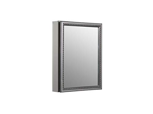 KOHLER K-CB-CLW2026SS 20 inch x 26 inch Aluminum Bathroom Medicine Cabinet with Decorative Silver Framed Mirror Door; Recess or Surface Mount , Red