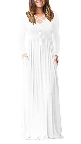 LILBETTER Women Long Sleeve Loose Plain Maxi Dresses Casual Long Dresses with Pockets (White,Small)