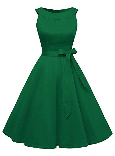Timormode Damen Retro 50er Party Swing Brautjungfern Rockabilly Einfarbig Kleid 10408 S Grün