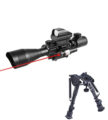 Pinty Rifle Scope 4-12x50EG Rangefinder Mil Dot Tactical Reticle Scope with Laser Sight and Red Dot Sight&Carbon Fiber Rifle Bipod with 6-9 inch Adjustable Legs Picatinny Adapter