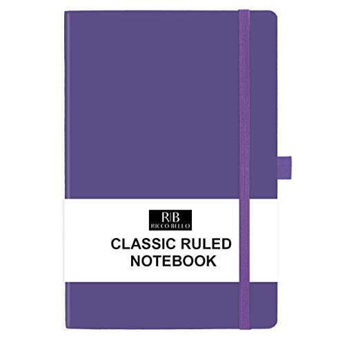RICCO BELLO Classic College Ruled Hardcover Journal Notebook, Elastic Band Closure, Pen Holder, Vegan Leather, 5.7 x 8.4 inches (Purple)
