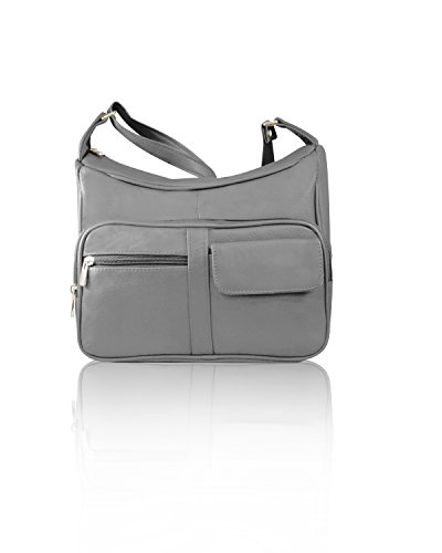 Roma Leathers Gun Concealment Shoulder Purse with Organizer - Cowhide Leather, Adjustable Strap - Gray