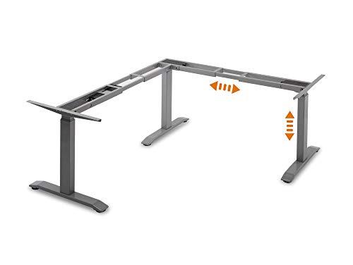 moebel-eins Office ONE elektrisch höhenverstellbares Eck-Tischgestell, TÜV geprüft, mit Memory-Funktion, grau