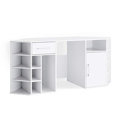 Vicco Schreibtisch Computertisch Arbeitstisch Houston Bürotisch PC Tisch Ablagen (Weiß)
