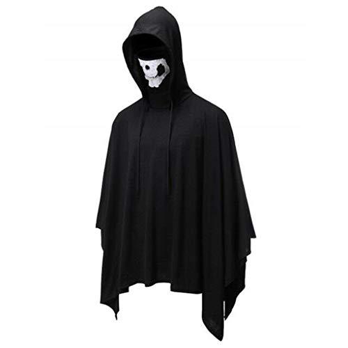 INLLADDY Umhang Herren Hoodie mit Skelettmaske Tops Halloween Cosplay Kostüm Cape Schwarz XXL