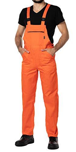 Pantalones con peto de trabajo para hombre, Made in EU, Mono de trabajo, Azur, blanco, rojo, verde, negro (S, Naranja)