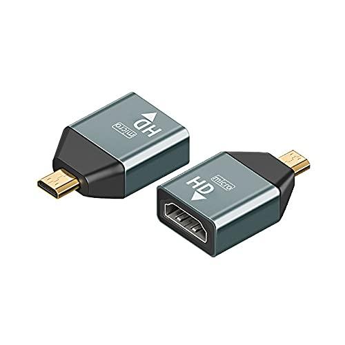 SJZERO Adaptador Protector HD 4K 60hz Mini/Micro HDMI-Compatible Macho a HDMI-Convertidor Hembra Adaptador de Carcasa de Aluminio