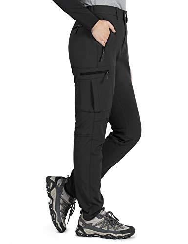 Gouxry Damen-Wanderhose-Wasserdicht-Trekkinghose-Warm-Gefüttert Winter Skihose Snowboardhose Outdoorhosen Thermohose Softshellhose mit Reißverschluss Taschen (Schwarz, M)