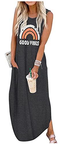 Good Vibes Rainbow Pocket Sleeveless Maxi Dress for Women Summer Hawaiian Beach Casual Tank Dresses Plain T Shirt Dress (Dark Grey, l)
