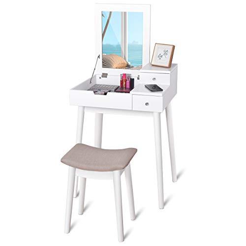 Giantex - Conjunto de tocador y taburete de madera con espejo plegable y almacenamiento, estilo escandinavo. Dimensiones del tocador: 60 x 50 x 76 cm. Comodidad garantizada por el sentado hueco.