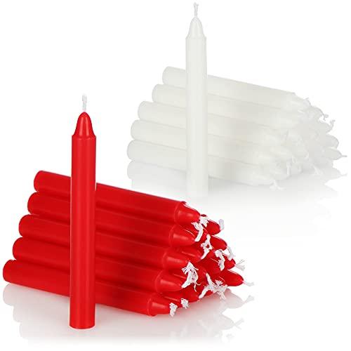 com-four® 40X Baumkerzen aus Wachs - Weihnachtsbaumkerzen, Christbaumkerzen, Pyramidenkerzen für Weihnachten - Kerzen klein - Ø 11 x 105 mm (40 Stück - rot. weiß)