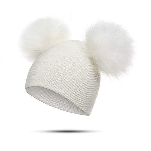 Sombrero para niños, niños pequeños, bebé, cálido, Gorro de Invierno, Gorro de Punto, Gorro con pompón de Piel para bebés y niñas-White