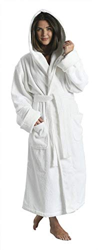 Terry Hooded Hotel Spa Robe - Unisex Cotton Heavy Bathrobe By Monarch/Cypress