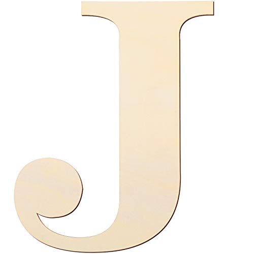 12 Inch Unfinished Wooden Letters Wood Letters Sign Decoration Wooden Decoration for Painting, Craft and Home Wall Decoration (Letter J)