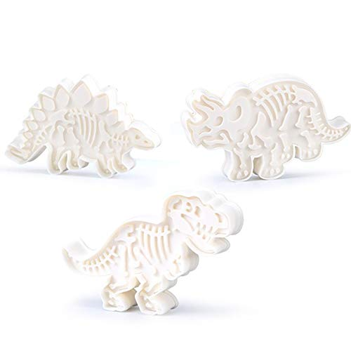 TIAS 3D - Cortador de moldes de galletas de dinosaurio, juego de cortadores de galletas de dinosaurio, molde de relieve para galletas de dinosaurio (6 unidades)