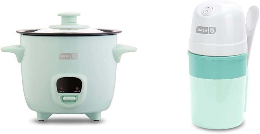 Dash DRCM200GBAQ04 Mini Rice Cooker Steamer & My Pint Electric Ice Cream Maker Machine for Gelato, Sorbet + Frozen Yogurt with Mixing Spoon