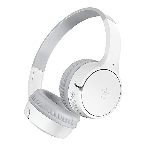 Belkin SoundForm Kids Wireless Headphones with Built in Microphone, On Ear Headsets Girls and Boys for Online Learning, School, Travel Compatible with iPhones, iPads, Galaxy and More - White