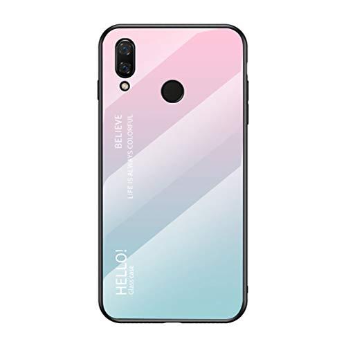 LUSHENG Capa para celular Huawei Nova 3i, cor gradiente vidro temperado capa traseira macia TPU Edge para Huawei Nova 3i (6,3 polegadas) - rosa + azul