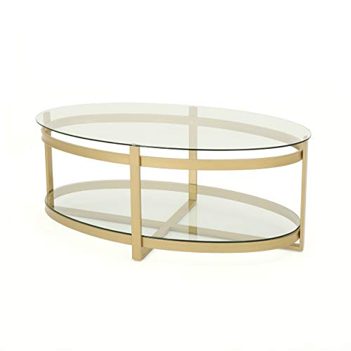 Christopher Knight Home Bell Tempered Glass Coffee Table | Round | Modern | Brass Finish, Clear