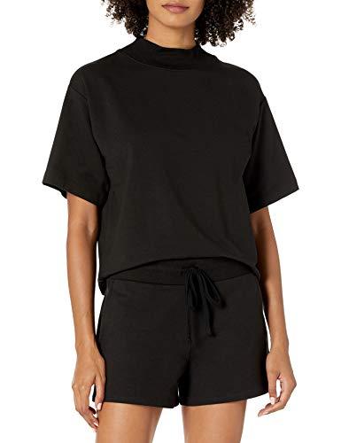 The Drop Women's Adeline Loose Short Sleeve Mockneck Drop Shoulder T-Shirt
