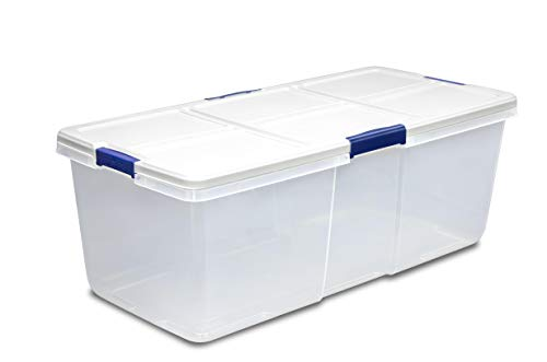 Hefty Modular Clear Storage Bins, 100 Qt. XL Stackable Bin with Latch, White/Navy + Cleaning Cloth