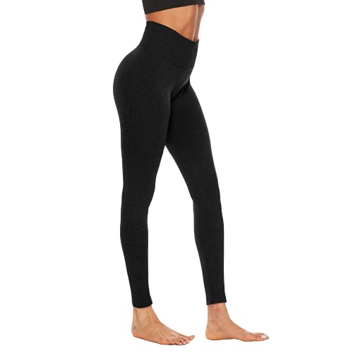 QTJY Leggings sin Costuras Pantalones de Yoga para Mujer Fitness Push-ups Deportes Running Fitness Track and Field Leggings Deportivos A XL