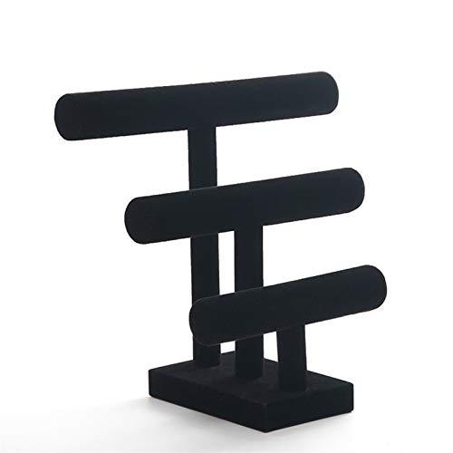CZXKJ Organizador de Caja de joyería 3 Negro Black Velvet Pulsera Desmontable Pulsera Reloj T-Bar Rack Organizador Organizador Duro Pantalla Soporte Soporte Pantalla de Joyería
