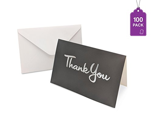 Thank You Cards- Bulk Pack With Envelopes, Greeting Cards With Hot Stamp'Thank You' (Grey/Silver 100 Pack)