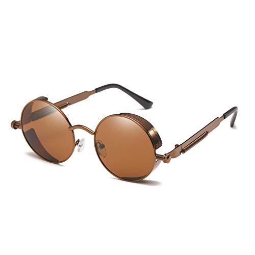 Sunglasses Klassische Steampunk Sonnenbrille Für Männer/Frauen Retro Runde Metallbrille Männer Frauen Sonnenbrille Sonnenbrille Teaframetea