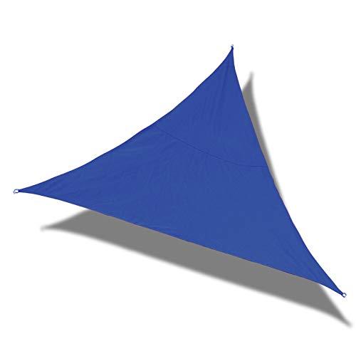 Laxllent Toldo Vela de Sombra Triángulo 5x5x5m Azul Real,Protección Rayos UV,Impermeable y Resistente, para Patio Jardín Balcón,con Cuerda
