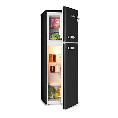 Klarstein Audrey Retro - retro koel-vriescombinatie, 97 liter koelkast, 39 liter vriezer, traploos instelbare koelcapaciteit, binnenverlichting, 41 dB bedrijfsgeluid, zwart
