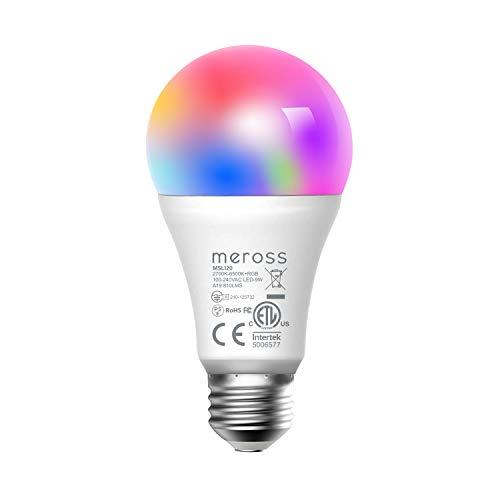 Slimme LED-lamp, Meross WiFi dimbare gloeilamp intelligente meerkleurige lamp equivalent 60W E27 2700K-6500K compatibel met Alexa, Google Home en SmartThings, warm wit