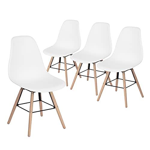 Meuble Cosy 4er Set Küchenstuhl Esszimmerstühle Wohnzimmerstuhl Füßen aus Holz, Weiß, 51.5x46x81.5cm