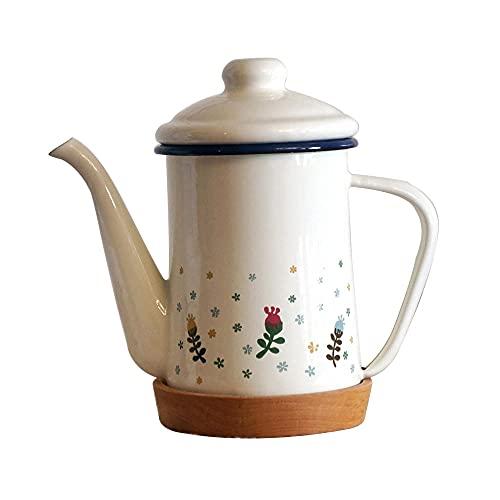 Tetera de cafetera de esmalte 600ml Manija de flores francesas-Olla de esmalte de 600 ml