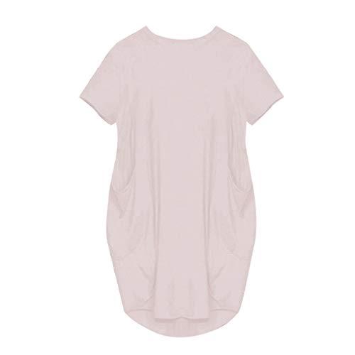 N\P Vestidos para mujer Jumper de gran tamaño, holgado, manga corta, vestido de verano con bolsillo para mujer