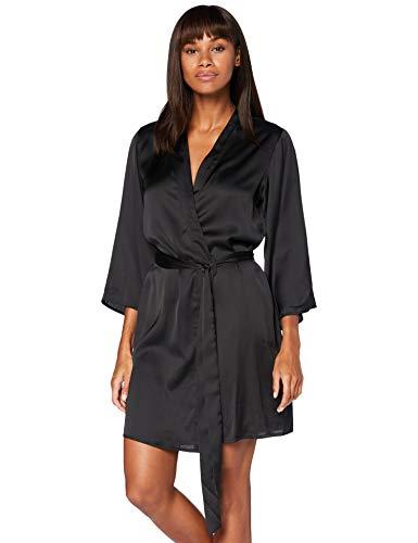 Iris & Lilly Damen Kimono-Morgenmantel aus Baumwolle, Schwarz (Black), XL, Label: XL