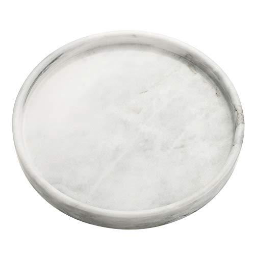 SUMTREE Vassoio da portata in marmo, per tavolino da salotto, scrivania, cucina, bagno, piatto da portata (25 cm, rotondo, grigio)