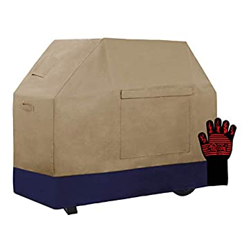 Easy-Going 100% Waterproof Gas Grill Cover 58 inch Heavy Duty Dual-Color BBQ Cover with Grilling Gloves Windproof and Weatherproof  Camel/Navy
