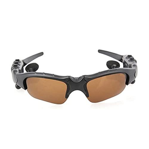 DIOUS Gafas de Audio Inteligentes, música Escuchando música estéreo, Deportes inalámbricos, para Juegos de Juegos de Viaje con vidrios Bluetooth Bluetooth,Marrón