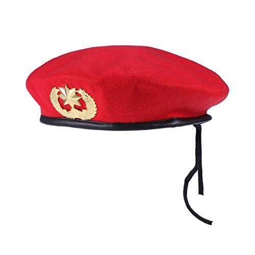 PRETYZOOM Hombres de Boina para Sombreros Gorra para Hombre Guarnición Boinas Militares Boina Francesa Baile Cuadrado Rojo Estrella de Ocho Puntas Gorra de Lana Sombrero de Boina Sombrero